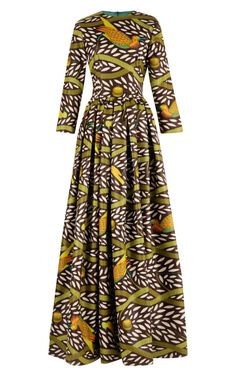 Shop Tina Printed Waxed-Cotton Maxi Dress by Stella Jean Now Available on Moda Operandi African Inspired Fashion, African Print Fashion, Africa Fashion, Fashion Prints, African Print Dresses, African Fashion Dresses, African Dress, Ankara Fashion, African Prints