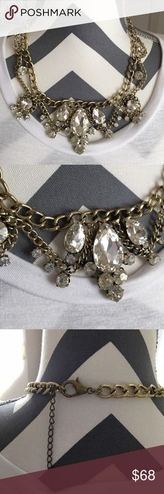 Chandelier Crystals Necklace Gorgeous, unique statement necklace by T&J designs! Materials: base metals and glass crystals  Made in China. Comes with velvet pouch. T&J Designs Jewelry Necklaces