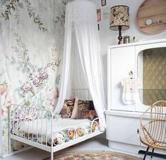 Whimsical room for a little princess. I like the IKEA extendable bed -  source unknown