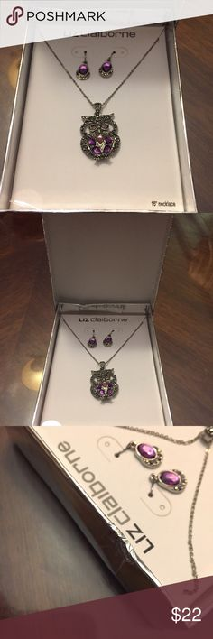 "Liz Claiborne Owl necklace matching earrings set. Liz Claiborne Owl necklace matching earrings set. PURPLE pink stone  and diamote very pretty!!! 16"" chain. Box got a little squashed.. Liz Claiborne Jewelry Necklaces"
