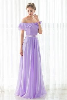 Cheap chiffon bridesmaid dress, Buy Quality bridesmaid dresses directly from China chiffon bridesmaid Suppliers: iLoveWedding Elegant Chiffon Bridesmaid Dresses Floor-Length A-line Off the Shoulder Boat Neck Bandage Formal Bridal Gown 12509 Lilac Dress Long, Lilac Bridesmaid Dresses, Purple Dress, Gown Dress Online, Evening Dresses Online, Chiffon Evening Dresses, Necklines For Dresses, Types Of Dresses, Wedding Party Dresses