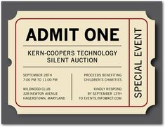 Corporate Event Invitations Admit One - Front : Eggshell- tiny prints