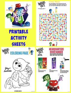 Inside Out Printable Activity Sheets And NEW Featurette