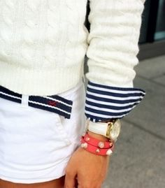 New England Classic Style   Cream cable knit jumper   Navy and white ribbon belt   Navy and white striped Oxford shirt   White skirt