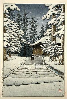 川瀬巴水 平泉金色堂(1957)(絶筆)