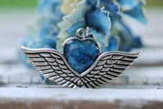 1 Winged Heart Pendant filled with dried by CherishedMemoryJewel, $33.99
