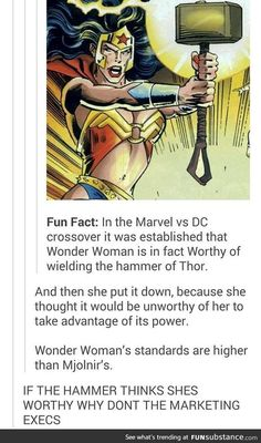 Wonder Woman is the best superheroine! (After me of course.)>> I'm not a DC fan but I think they're cool, and this is rlly awesome ! I admire Wonder Woman Dc Memes, Marvel Memes, Marvel Dc Comics, Marvel Avengers, Funny Memes, Funny Hacks, Dc Comics Funny, Marvel Tumblr, Memes Humor