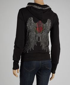 Take a look at this Black Stud Wings Hoodie I bought at zulily today!