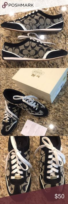 Coach Dillon Shoes Black/Ivory. Medium width. Slight wear, mostly on heel areas - see photos. No trades please. Coach Shoes Sneakers