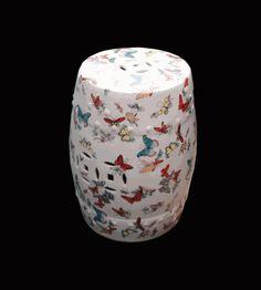 $380 White Porcelain Butterflies Round Stool Ottoman - Golden Lotus Antiques