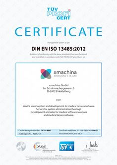 Certified according to DIN EN ISO13485: Development and sales for medical software solutions and medical device software https://www.xmachina.de/news/artikel/din-en-iso-13485-xmachina-ist-zertifiziert/  #iso13485 #xmachinaEHealth #medicalsoftwaresolutions #medicaldevicesoftware