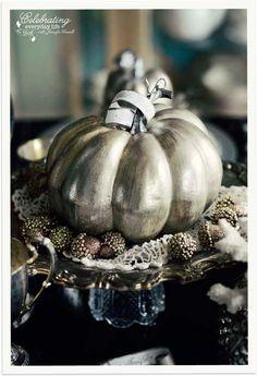 A Cinderella Inspired Elegant Halloween Dinner Party {Silver Pumpkin Decor} | Celebrating everyday life with Jennifer Carroll