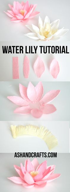Crepe Paper Water Lily Tutorial | ashandcrafts.com #Crepepaperflowers