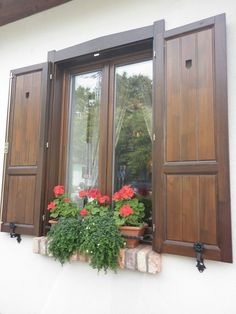 Outdoor Shutters, Cedar Shutters, House Shutters, Cottage Windows, Rest House, Rural House, French Cottage, Window Design, Backyard Patio
