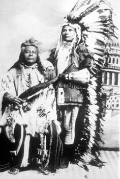 Nez Perce men in ceremonial dress pose for formal portrait :: American Indians of the Pacific Northwest