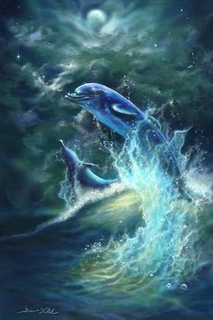 Dolphin's Play Print by Donna Hillman Walsh