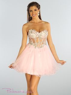 Light Pink Strapless Short Mesh Cocktail Dress with Sweetheart Bodice