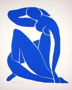 Henri Matisse - Nu Bleu II, 1952    La Schtroumpfette à poil!