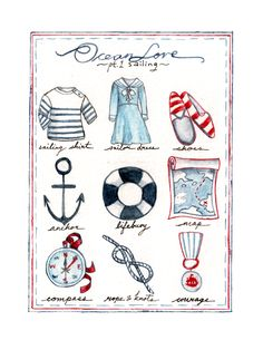 ocean love~ would be a cute print Sea Illustration, Illustrations, Retro Mode, Am Meer, Nautical Fashion, Nautical Theme, Nautical Knots, Coastal Style, Vintage Roses