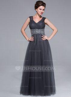 A-Linie/Princess-Linie Schatz Bodenlang Tüll Kleid für die Brautmutter mit Rüschen Perlen verziert (008025712)