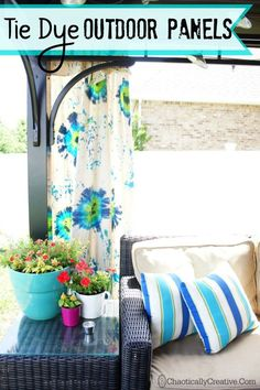 Lesley makes Tulip Tie Dye Outdoor Gazebo Panels and they are so cute! This is her first time using Tie Dye it turned out great! Gazebo Curtains, Drop Cloth Curtains, Rustic Curtains, Diy Curtains, Beige Curtains, Velvet Curtains, Roman Curtains, Short Curtains, Nursery Curtains