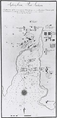 Map of Sydney Cove with link to National Library of Australia digital classroom resources. Vintage Maps, Vintage Posters, Sydney Map, First Fleet, Family Tree Photo, Aboriginal History, Australian Curriculum, Old Maps, Historical Images