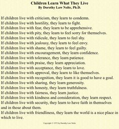 Perfect advice for all parents.  I am hanging this up in the house so we are reminded daily.
