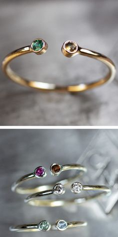 Duo Birthstone Ring - cute for you and your loved one :)