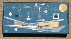 El Gato Gomez Painting Retro Mid Century Modern Atomic Space Robot SciFi UFO | eBay