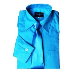 BIMARO Jungen Kinderhemd mit Krawatte türkis blau klassisch Hemd langarm festlich Weihnachten Hochzeit Kommunion Taufe