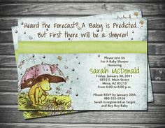 Vintage Winnie the Pooh Baby Shower Invitation by Sassygfx on Etsy, $18.00