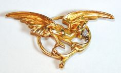 18K Gold French Art Nouveau Griffin Brooch, Watch Pin, Pendant, Mine from cheekymonkeyvintagejewelry on Ruby Lane
