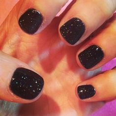NYE nails already done  black and sparkly bio gel done by @Lineage2 Скоро HFx50 thank youuuu xxx #Padgram