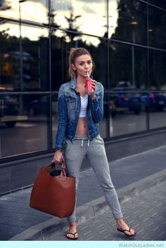 How to wear grey joggers with crop top and denim jacket to school