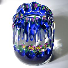 Bob Banford paperweight - Very different tall cut, pansy with a single flower blossom, one bud and green leaves against a cobalt blue ground, 14 side flutes and one top facet. 2 x 2 by ann Cut Glass, Glass Art, Lavender Syrup, Marble Art, Pottery Sculpture, Glass Marbles, Glass Paperweights, Vintage Christmas Ornaments, Blossom Flower