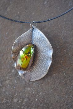 Real Sterling Silver Leaf with Gold Scarab Beetle by InsectArt