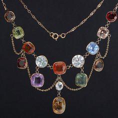 Vtg Antique Victorian Edwardian Natural Gemstone Swag Necklace 9ct Gold Chain