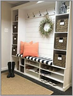 Mudroom Ideas - Repurposing a shelving device for a mudroom serves a double obje.,Mudroom Ideas - Repurposing a shelving device for a mudroom serves a double objective. The cubbies near the floor are excellent for saving footwear an. Mudroom Decor, Asian Home Decor, House Styles, Home Furniture, Mudroom Design, Home Decor, House Interior, Smart Living Room, Living Room Furniture