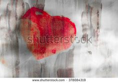 Abstract background watercolor on paper, watercolor paint, image heart on the background paper colors, red heart