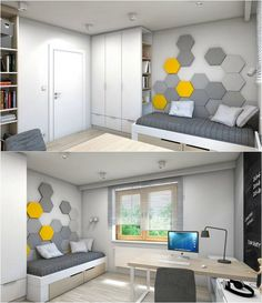 petite chambre enfant avec une déco murale en gris et jaune