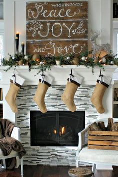 The wooden sign above this mantel is an eye-catching piece that will remind your guests of what the season is all about.