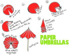 to Make Paper Toothpick Umbrellas Cut out a circle from colorized or decorative paper. Cut a tiny triangle from the circle. Then fold forwards and backwards, forwards and backwards in an accordion fold as seen in figure Then open it up and glue the edges Decoration Creche, Paper Decorations, Origami Umbrella, Toothpick Crafts, Moldes Para Baby Shower, Cocktail Umbrellas, Papier Diy, Crafts For Kids, Arts And Crafts