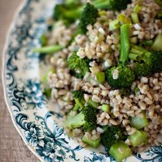 People tend to cook barley more in the winter than in the summer. But once it's been toasted in a saucepan with some butter and boiled (only 20 minutes), barley is a terrific showcase for superfresh vegetables, like the broccoli Grace Parisi uses here. Broccoli Recipes, Vegetable Recipes, Vegetarian Recipes, Healthy Recipes, Broccoli Dishes, Broccoli Casserole, Vegan Meals, How To Cook Barley, How To Cook Corn