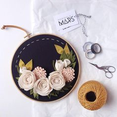 Marigold + Mars is hand embroidery by Cristin Morgan. Her colorful hoop art is centered around lettering and flowers, often combining them into one piece.