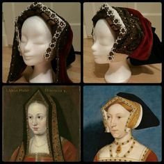 English hood or Gable Hood 1520 - 1530 reproduction by Angela Mombers. At the bottom : Elizabeth of York and Jane Seymour, notorious Gable Hood wearers 1500s Fashion, Tudor Fashion, Tudor Costumes, Period Costumes, English Hood, Marguerite De Navarre, 16th Century Fashion, Tudor Dress, Historical Hairstyles