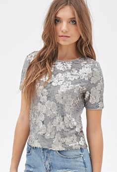 Sequined Floral Lace Top - Women - 2000082878 - Forever 21 UK