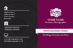 Photography Business Card (back) designed by me at Nic's Designs.