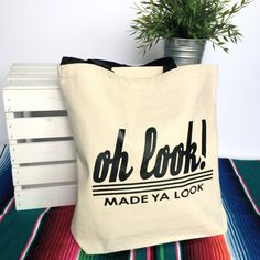 Heavy duty cotton canvas tote bags with uplifting and funny quotes on them! @ashandemberco on etsy!