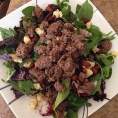A simple but delicious dinner tonight. Ground bison over mixed greens with almonds and kerrygold cheese. Dressing: MCT oil and balsamic vinegar.  #cleaneating #eatrealfood #food #dinner #nofilter #wholefoods #whole30 #fitness #healthy #weightloss #loseweight #extremeweightloss #paleo #primal #primalpotential