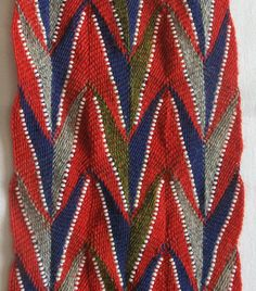 Sash pattern famous for its association with a medical doctor, killed in wore a sash of this pattern Finger Weaving, Weaving Yarn, Textiles, Sash, Nativity, Native American, Belts, Medical Doctor, Artwork